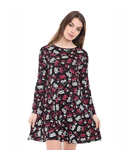 Fatal Fashion Women's Floral Printed Ladies Long Sleeve A Line Skater Mini Dress 8-26 Plus Size (XXL 20-22, Love Heart)