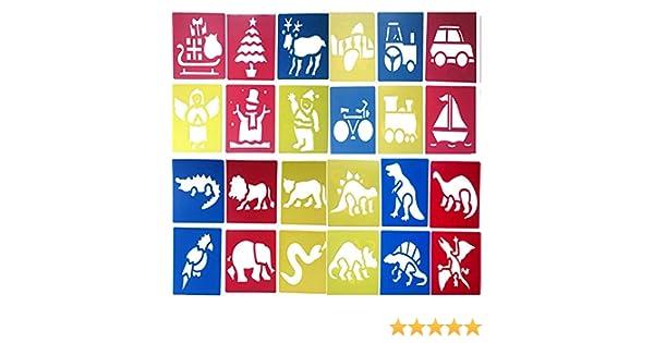 Diff/érent Mod/èles No/ël Transport Animaux Dinosaure Couleurs Al/éatoires 14 x 15 cm 24 PCS Peinture Dessin Pochoirs Plastique R/éutilisable Lavable Stencil pour Enfants DIY Artisanat Scolaires Projets