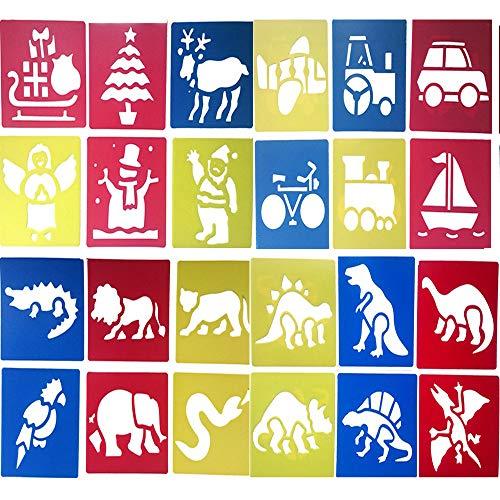 alen Schablone Kunststoff Waschbar Zeichenschablonen Vorlage Set für Kinder Kunsthandwerk Schule Projekte - Weihnachten Transport Tier Dinosaurier, 14 x 15 cm, Zufällige Farben ()
