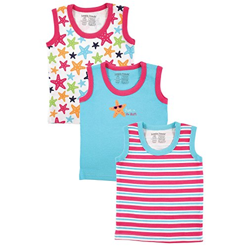 Luvable Friends 3 Pack Baby Sleeveless Tee Top Vests (3-6 Months, Pink Starfish)