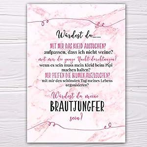 """A6 Postkarte """"Willst du meine Brautjungfer sein?"""" in marmor/rosa Glanzoptik Papierstärke 235 g / m2 Geschenk für…"""