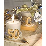 Golden Anniversary Candle Favors. Great wedding favours, birthday gifts,baby shower presents, christmas stocking fillers and more...