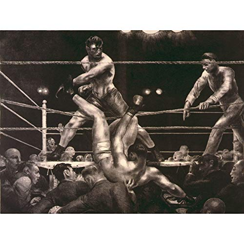 PAINTING DRAW SPORT BOXING JACK DEMPSEY LUIS FIRPO POLO NEW YORK PLAKAT DRUCKEN FINE ART PRINT POSTER 30x40cms CC1156