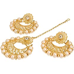 The Luxor Beautiful Golden Plated Mang tikka And Earrings Set For Women(MGT6018)
