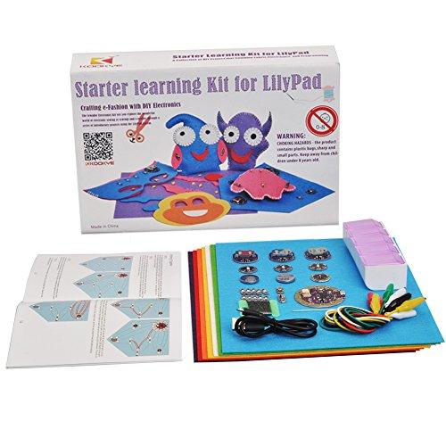 KOOKYE LilyPad Kit Einsteiger Lernen Näh-Elektronik-Kit w/LilyPad Arduino USB-Board/Münzzelle Batteriehalter/Schiebeschalter für Arduino (LilyPad Starter-Kit)
