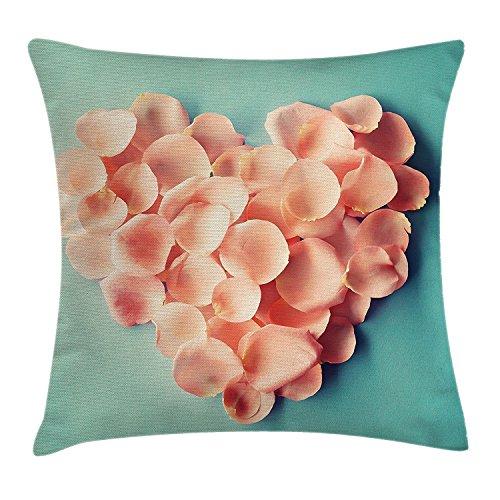 Coral decor federa per cuscino, a forma di cuore petali di san valentino mother wedding day sweet still life icon, decorative square accent pillow case, rosa blu