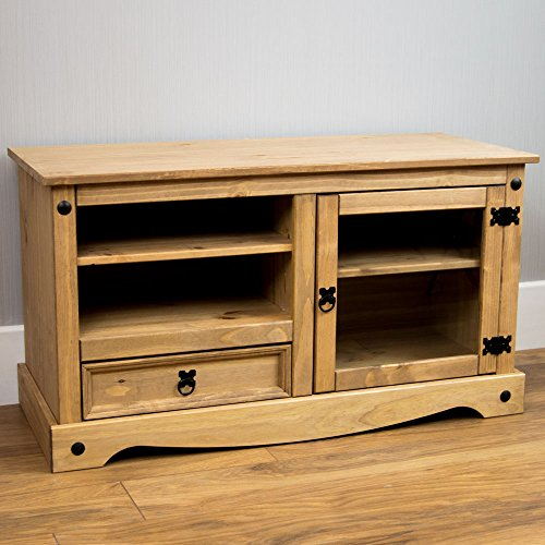 Home Discount Corona TV Stand, Entertainment Unit Cabinet - Mexican Style Solid Pine
