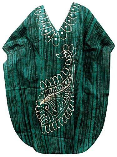 LA LEELA Frauen Damen Baumwolle Kaftan Tunika Batik Kimono freie Größe kurz Midi Party Kleid für Loungewear Urlaub Nachtwäsche Strand jeden Tag Kleider Schwarz_S166 -