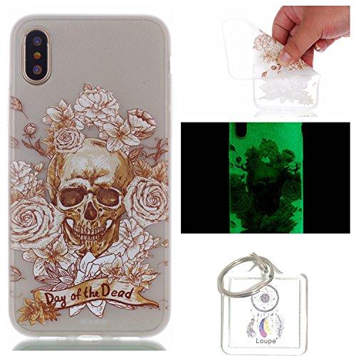 Preisvergleich Produktbild Hülle Leuchtende iPhone X Silikon Etui Handy Hülle Weiche Transparente Luminous TPU Back Case Tasche Schale Leuchten In Der Nacht Für Apple iPhone X + Schlüsselanhänger (P) (1)