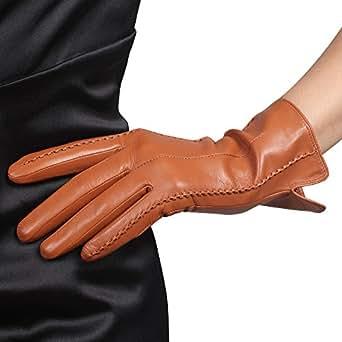 WARMEN Classic Women's Geniune Leather Winter Warm Gloves Simple Style (M, Apricot)