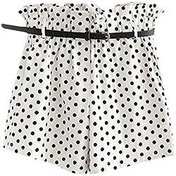 Cinnamou Pantalones Cortos Mujer Lunares, Pantalones Cortos Elegantes con Bolsillos, Niña Cintura Alta Pantalones Cortos con Cinturón Casual del Verano Sólidos Pants Shorts (Blanco, XL)