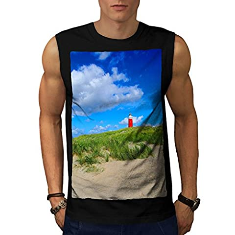 Ocean Light Tower Nature View Men NEW Black M Sleeveless T-shirt | Wellcoda