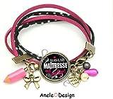 Bracelet Cadeau pour la Maîtresse qui déchire noir rose crayon étoiles