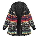 OverDose Damen Winterjacke Windbreaker Wärmemantel Plus Size Damen Kapuzen Causal Slim Soft Langarm Vintage Damen Fleece Dick Coats Zipper Coat(Mehrfarbig2,EU-54/CN-5XL )