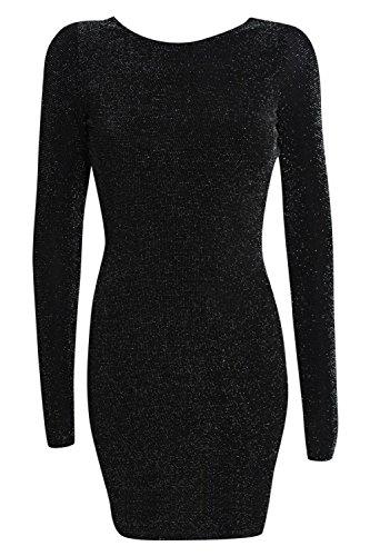 PILOT® christina manches longues lurex capot arrière de la robe moulante Noir