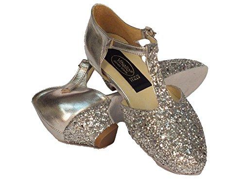 Vitiello Dance Shoes  Cristal Argento Standard, Chaussons de danse pour fille Argent argent Argento con Glitter