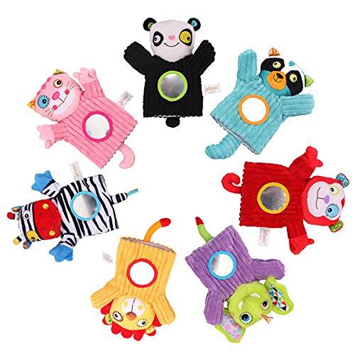 Festnight Animales de bebé Marioneta de Mano Felpa Cascabeles Campana Espejo Mágico Dedos Suaves Juguetes...