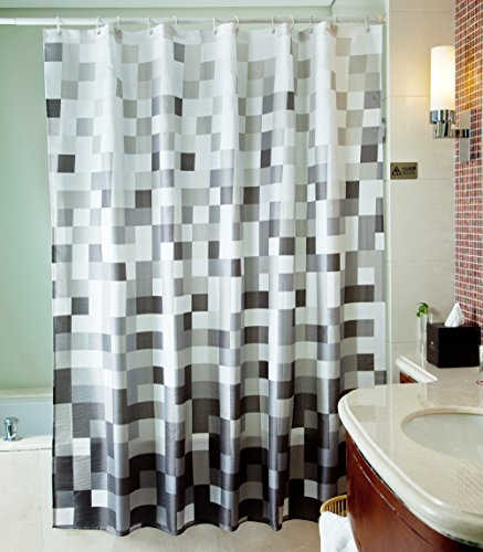 Sfoothome Gray Mosaic Shower Curtain ,Waterproof Polyester Fabric Shower Curtain Liner ,Midew Resistant Washable Bath Curtain For Bathroom With Anti Rust Grommets , Plastic Curtain Rings And Heavy Weighted Hem ,Size 180cm X 200cm