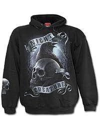 Night Creature, gothic fantasy metal raaf hoody trui met capuchon zwart