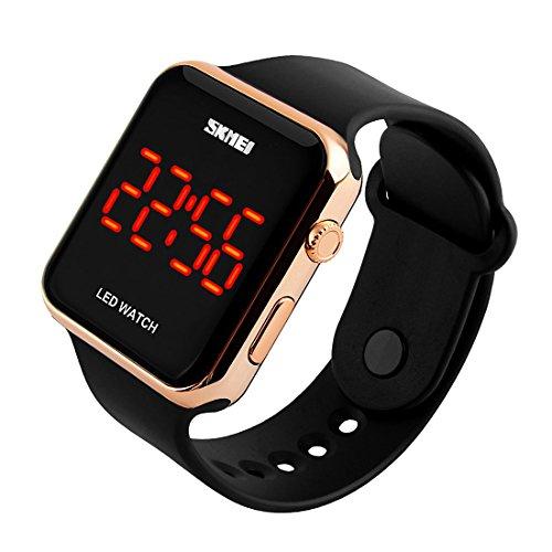 Herren LED Sport Armbanduhr Multifunktional Military Digitale Armbanduhr quadratisch Face LED Display Armband Armbanduhr