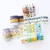 Ensemble de rubans adhésifs Washi - 20 rouleaux de Washi tape décoratif rubans adhésifs – Ruban Washi d'artistes pour journal, la décoration, le scrapbooking, livres de mariages - MozArt Supplies