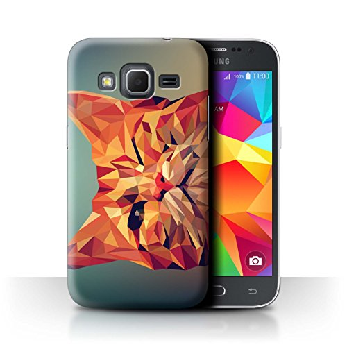 Stuff4® Hülle/Case für Samsung Galaxy Core Prime/Rote Katze Muster/Geometrisches Tier Tierwelt Kollektion