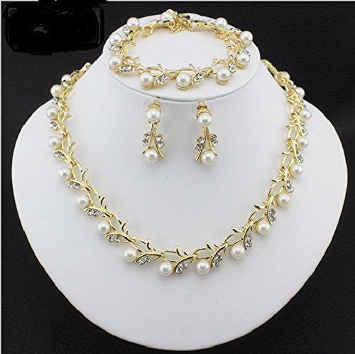 White Color Pearl Imitation Necklace Set