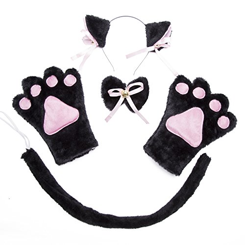 Cat Cosplay Costume Set - Fancy Dress Cat Tail Ears Collar Paws Gloves Headband Set Lolita Gothic for Carnival Halloween Christmas Party  Cat-Black-4PCS