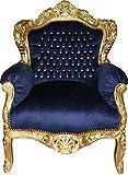Sessel Casa Padrino Barock 'King' Royalblau/Gold mit Bling Bling Glitzersteinen