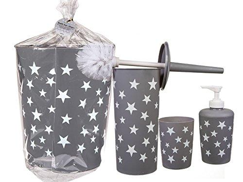 Badezimmer Set mit weißen Sternen 4tlg Set