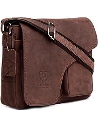 96d645a51b J WILSON London Designer Genuine Real Vintage Hunter Leather Handmade Mens  Leather Flapover Everyday Cross Body Shoulder Work…