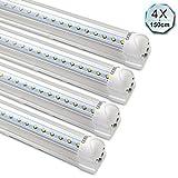 [4er Pack zum Sparpreis] OUBO LED Leuchtstoffröhre mit Fassung komplett 150CM LED Tube T8 Röhre Leuchtstofflampe, 23 Watt, 2300 Lumen, Kaltweiss 6000K, Transparente Abdeckung