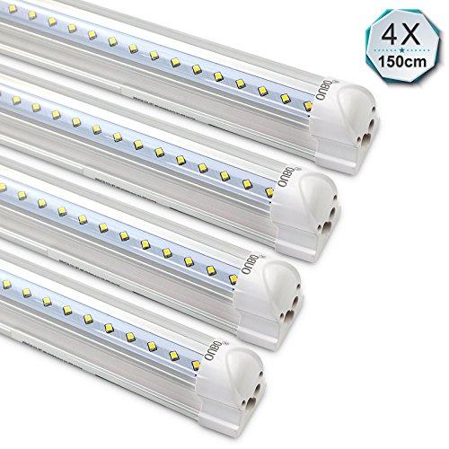 [4er Pack zum Sparpreis] OUBO LED Leuchtstoffröhre mit Fassung komplett 150CM LED Tube T8 Röhre Leuchtstofflampe, 24Watt, 2900 Lumen, Naturweiss 4000K, Transparente Abdeckung
