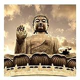 Vliestapete - Großer Buddha Sepia - Fototapete Quadrat Vlies Tapete Wandtapete Wandbild Foto 3D Fototapete, Größe HxB: 240cm x 240cm