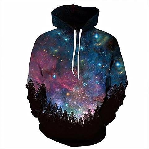 Hoodies Sweatshirt, KEERADS Unisex 3D Printed Hooded Sweatshirt Casual Pullover Hoodie with Big Pockets (S/M, Black)