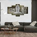 La Vie 5 Teilig Wandbild Gemälde Facettenreicher Buddha Kopf aus Stein Moderne Kunstdruck Hochwertiger Leinwand Bilder Poster Drucken für Zuhause Wohnzimmer Schlafzimmer Küche Hotel Büro Geschenk