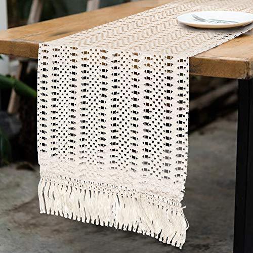 Aparty4u Macrame Runner da Tavola Wedding Table Decor, coperta tessuta a mano in cotone con nappe per decorazione Boho, 12