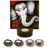 TYYC Diwali Puja Pooja Gift Items Divine Lord Ganesha Idol Statue Tealight Candle Holder Tea Light Set Of 5 | Diwali Corporate Gifts For Office, Employees, Clients, Staff