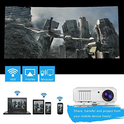 Best Saving for EUG Wireless HD Android Video Projector 1080p HDMI Support Airplay Miracast Screen Mirror 4500 Lumen Wifi LED LCD Home Outdoor Theater Projector for TV Computer Smartphone Native 1280×800 Reviews