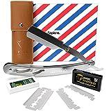 Rasoir à Barbe par Sapiens - Rasoir de Barbier avec 10 Lames Doubles Derby (20 Lames Simples) et Ebook en Cadeau - Silver Edition