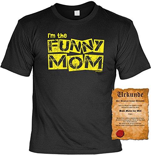 Spaß/Fun-Shirt + gratis Fun-Urkunde Aufdruck für Mamis: I´m the Funny Mom - lustiges Geschenk Schwarz