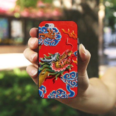 Apple iPhone X Silikon Hülle Case Schutzhülle China Drache Muster Silikon Case schwarz / weiß