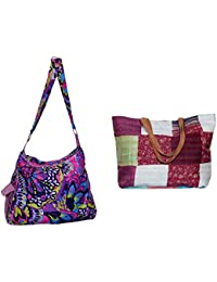 Indiweaves Combo Pack Of 1 Silk Kantha Beach Bags Bag And 1 Cotton Shopper Bag (Pack Of 2) 82100-130277-IW-P2