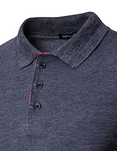 Boom Fashion Mode Herren Poloshirt Beiläufig Kurzarm Stehkragen M - XXL Grau
