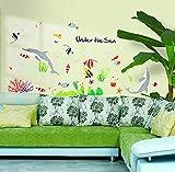 Unter dem Meer Delphin Fisch Tier Dekor Aufkleber Wohnzimmer Badezimmer Wasserdichte Kunst Wandbild Wandaufkleber