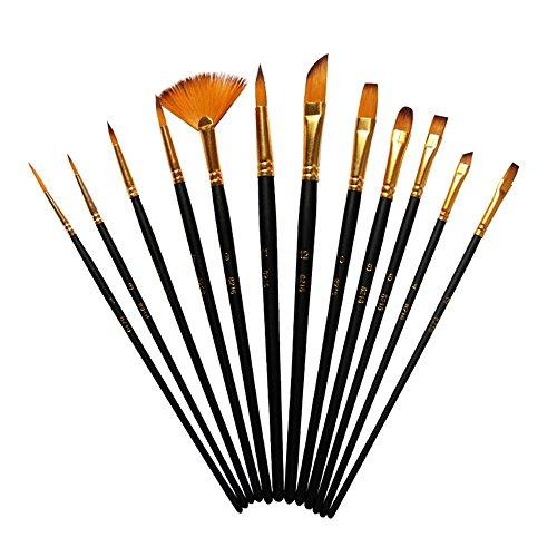12pezzi-miniature pennelli, pennelli con setole di nylon, professionale artista pennelli per acquerello acrilico pittura ad olio Nero