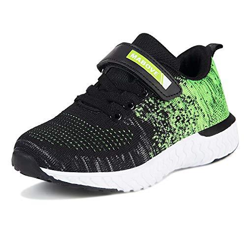 Laufschuhe Kinder Jungen Mädchen Sportschuhe Atmungsaktiv Leicht Turnschuhe Klettverschluss Outdoor Fitnessschuhe Sneakers für Gym Indoor Unisex-Kinder(Grün.YF644,33 EU)