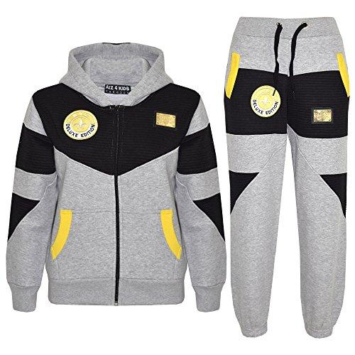 A2Z 4 Kids® Kinder Mädchen Jungen Designer Trainingsanzug - NY Edition 01 Grau & Schwarz, 13 Jahre (Suits Designer Pant)