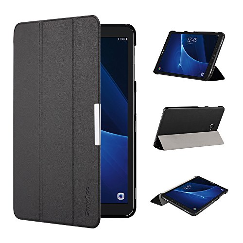 EasyAcc Ultra Dünn Hülle für Samsaung Galaxy Tab A 10.1, mit Standfunktion und Auto Sleep/Wake Up Funktion Slim Leder Case Perfekt kompatibel für Galaxy Tab A 10.1 Zoll T580/ T585, Schwarz
