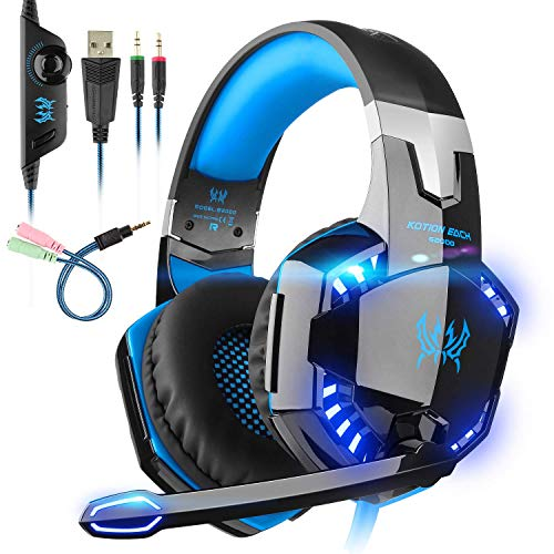 EACH Cuffie Gaming Headset Mac Stereo con microfono Gioco Cuffie da gioco con jack da 3,5 mm LED a basso rumore Compatibile con PC Xbox One, PS4, Mobile , Nintendo ,Nero-blue